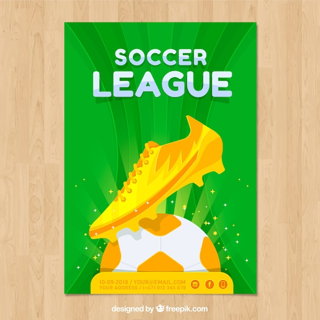 Soccer league flyer with golden ball