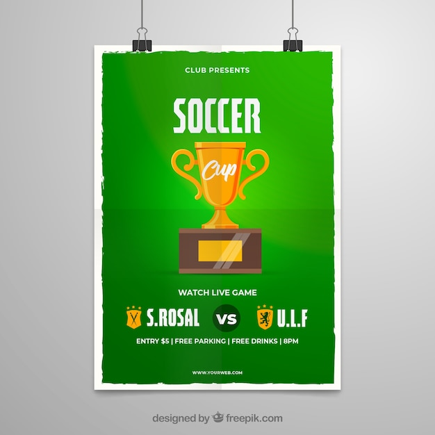 Soccer league flyer with trophy