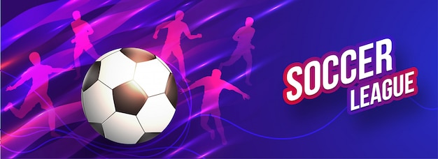 Soccer league header or banner design with soccer ball and silho Premium Vector