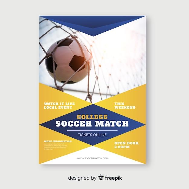 Soccer match sport flyer template Free Vector