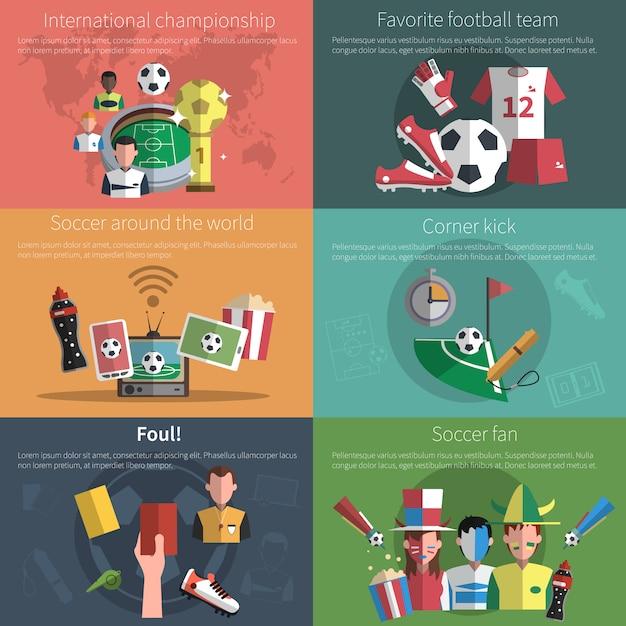 Soccer mini banner set Free Vector