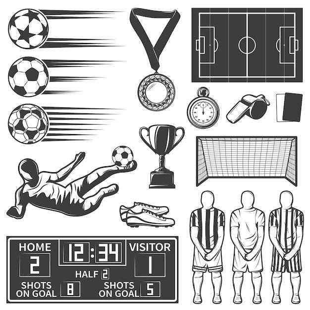 Футбольный монохромный набор элементов с командой во время казни спортивный инвентарь футбольные бутсы рефери объекты изолированы Бесплатные векторы