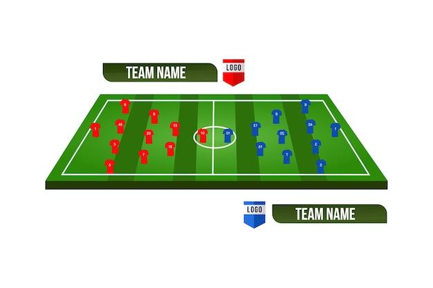 Футбольное поле или футбольное поле с формированием команды Premium векторы