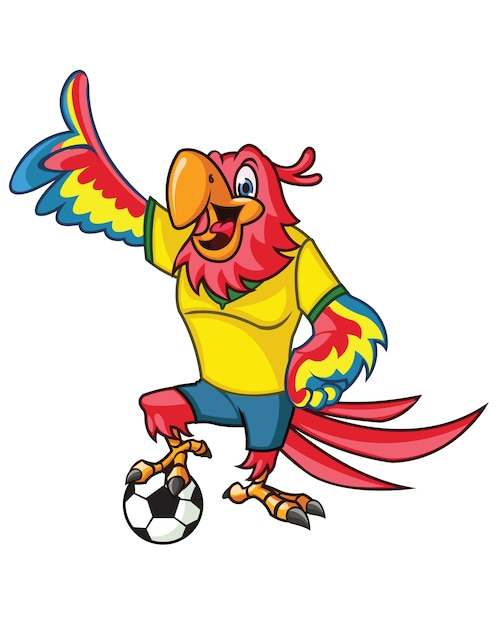 Who And Where Are Brazil Playing This Month And Who Is In: Soccer Parrot Cartoon Mascot Vector