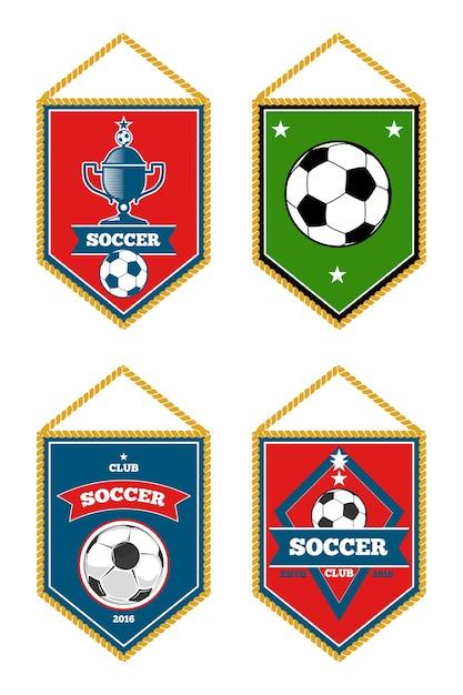 Soccer pennants set isolated white Premium Vector