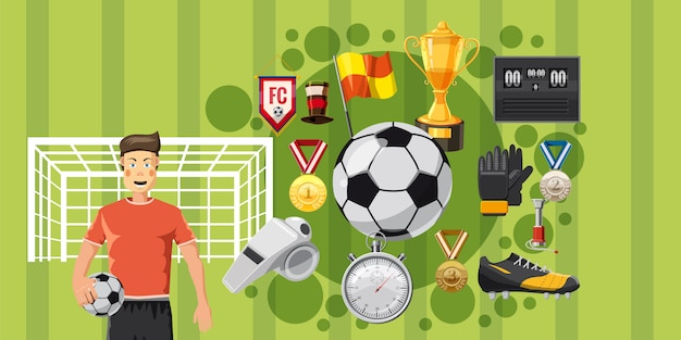 Soccer play horizontal background Premium Vector