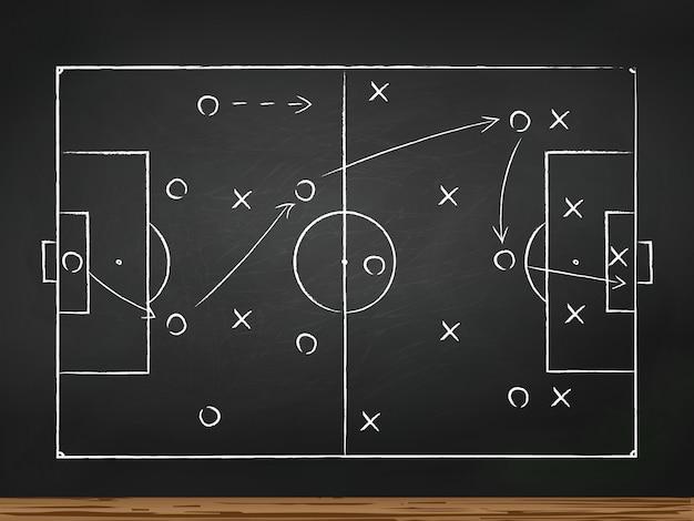 Soccer play tactics strategy drawn on chalk board Premium Vector