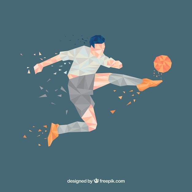 Soccer player background in abstract style Premium Vector
