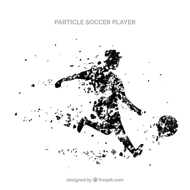 Soccer player background in particle style Free Vector