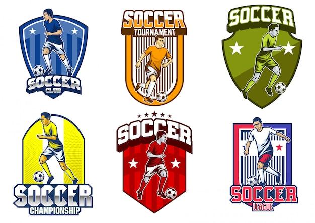 Soccer player emblem vector set Premium Vector