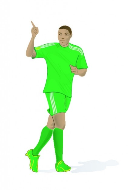 Soccer player in green clothes