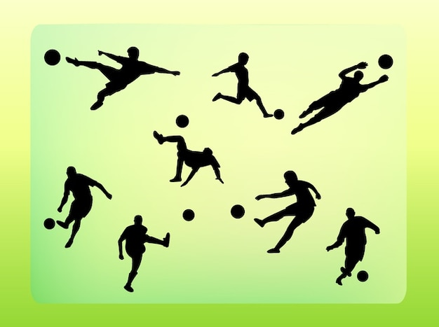 Soccer player kick vector silhouettes