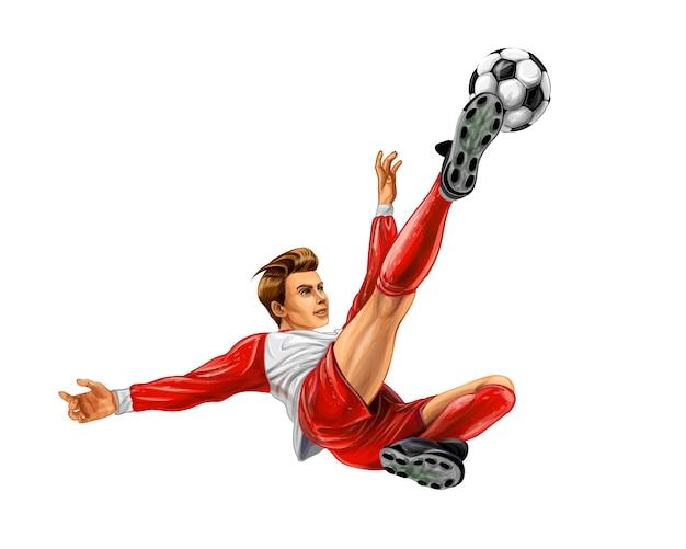 Футболист бьет по мячу. реалистичные векторные иллюстрации красок Premium векторы
