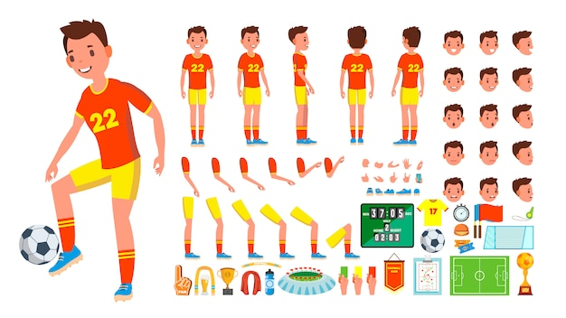 Soccer player male character set Premium Vector