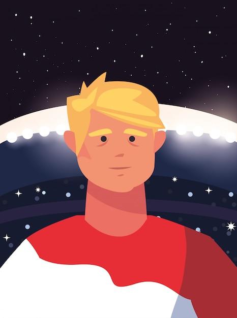 Футболист человек на стадионе Premium векторы