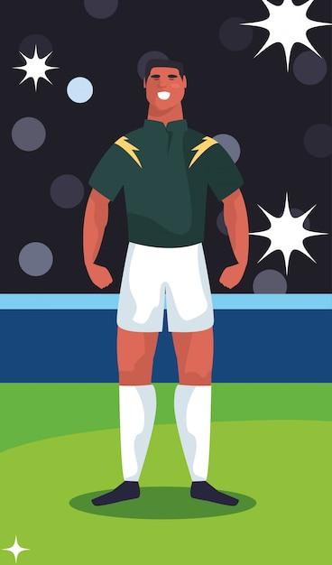 Футболист человек, стоящий на стадионе Premium векторы