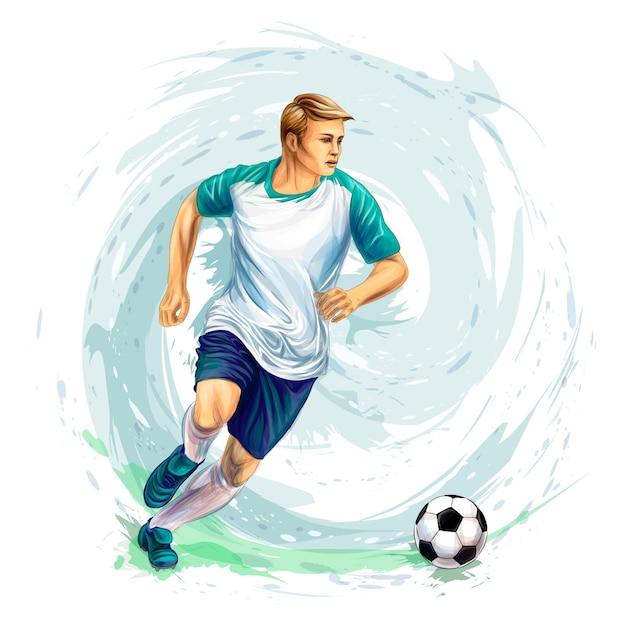 Футболист с мячом от всплеска акварелей. иллюстрация красок Premium векторы