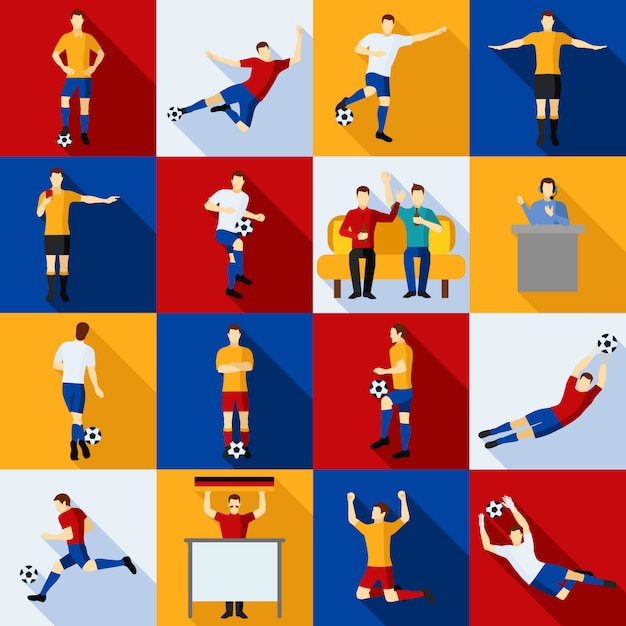 Soccer players icons  flat set Free Vector