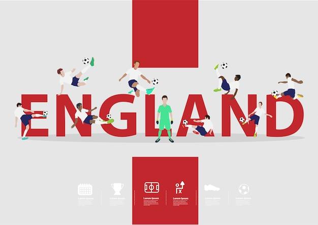 Футболисты в действии по тексту англии Premium векторы