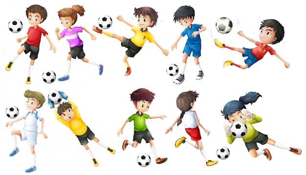 Игроки в футбол Бесплатные векторы