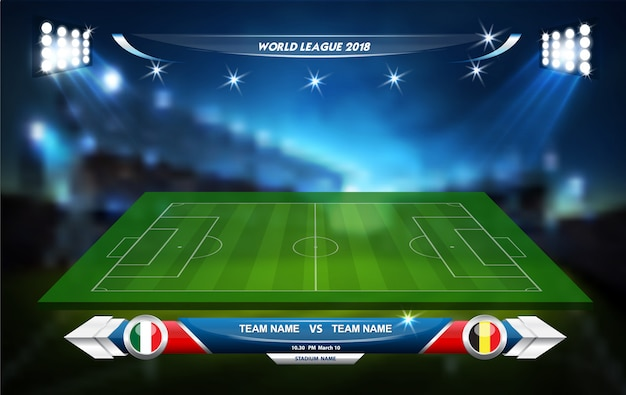Soccer playing field with informative elements. sport game. sport cup. vector illustration. Premium Vector