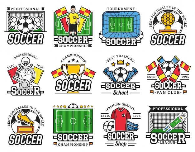 Soccer professional sport league fan club icons Premium Vector