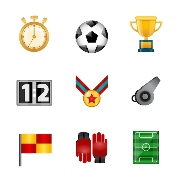Soccer realistic icons Free Vector