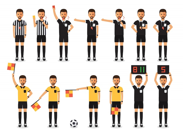 Soccer referee character set. Premium Vector