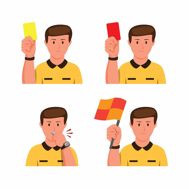 Soccer referee gesture collection icon set in cartoon flat illustration Premium Vector