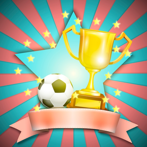 Soccer retro poster with trophy cup and ball Premium Vector