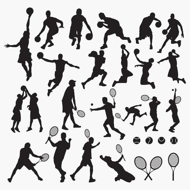 Soccer rugby silhouettes Premium Vector