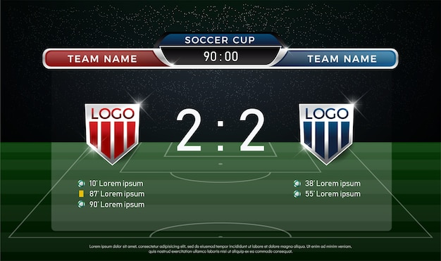 Soccer scoreboard team a vs team b strategy broadcast graphic template Premium Vector