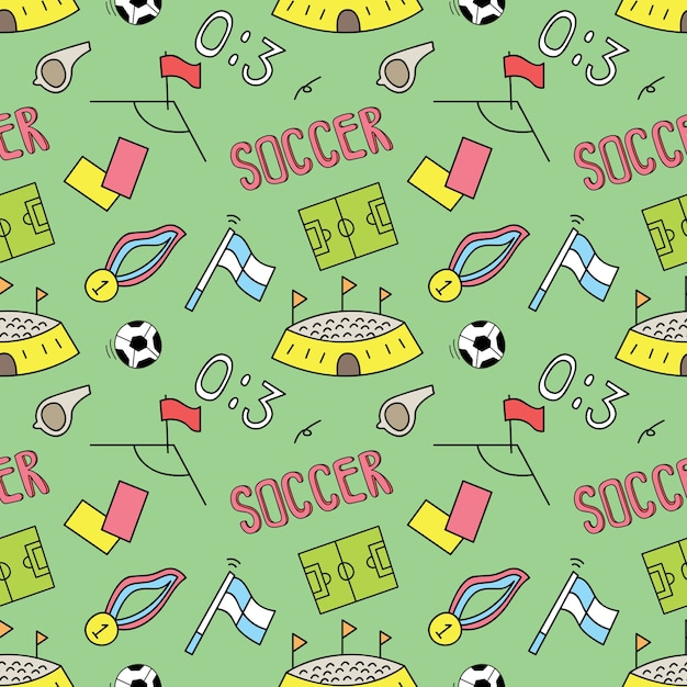Soccer seamless background Premium Vector