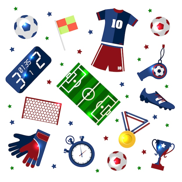 Soccer set of icons Premium Vector