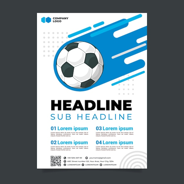 Soccer sport flyer template Premium Vector