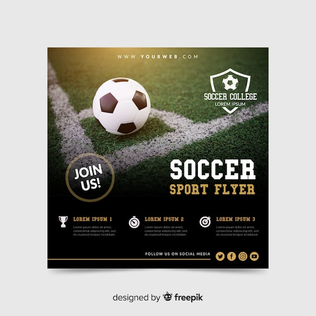Soccer sport flyer with photo Free Vector