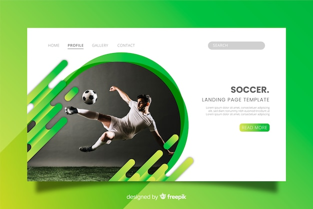 Soccer sport landing page with photo Free Vector