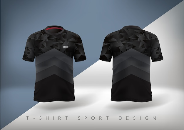 ラウンドネックのスリムフィットブラックのサッカースポーツtシャツ。 Premiumベクター