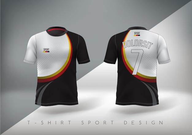 ラウンドネックのスリムフィットのサッカースポーツtシャツ。 Premiumベクター
