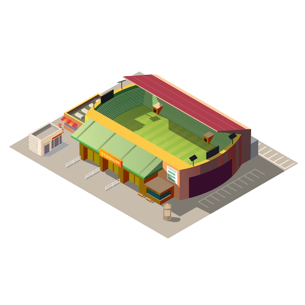 Soccer stadium building low poly isometric Free Vector