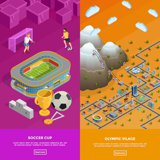 Soccer stadium olympic village isometric banners Free Vector