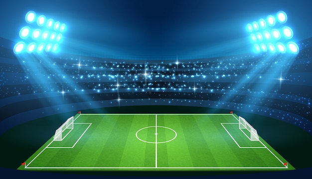 Soccer stadium with empty football field and spotlights vector illustration Premium Vector