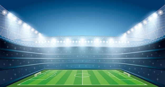 Soccer Stadium with spot light Premium Vector