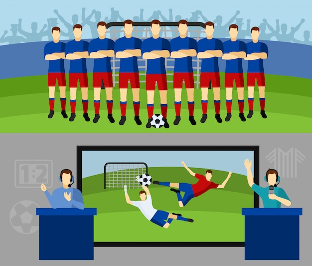 Soccer team 2 flat banners set Free Vector