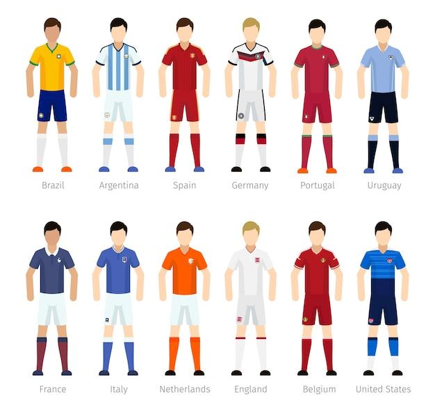 Squadra di calcio o giocatori della squadra di calcio su priorità bassa bianca Vettore gratuito
