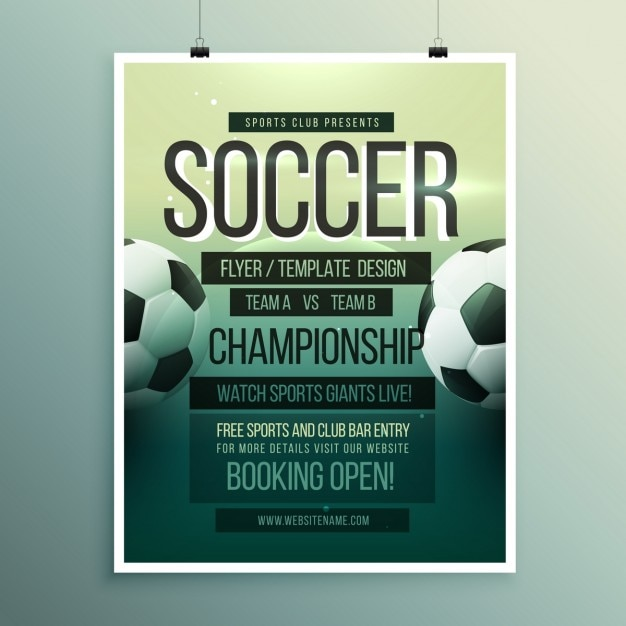 soccer tournament brochure template vector free download