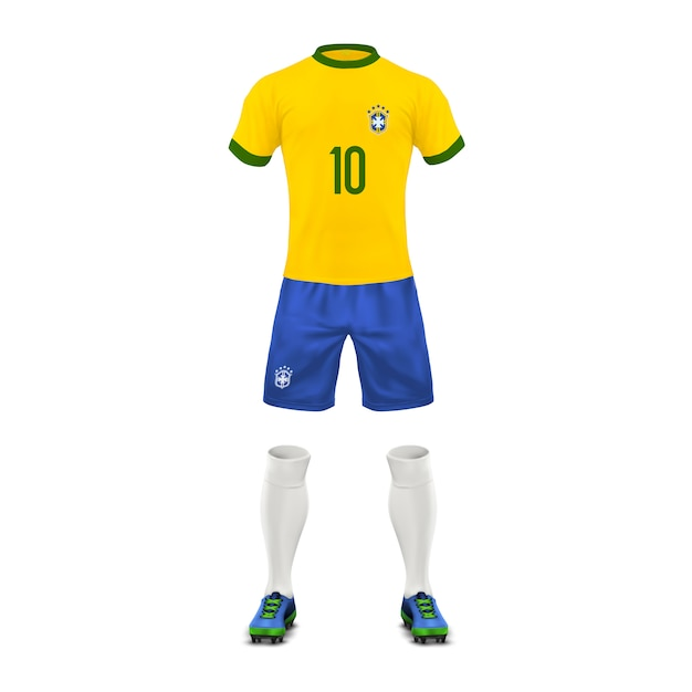 Soccer uniform of a brazil team, set of sports wear, shirt, shorts, socks and boots Free Vector