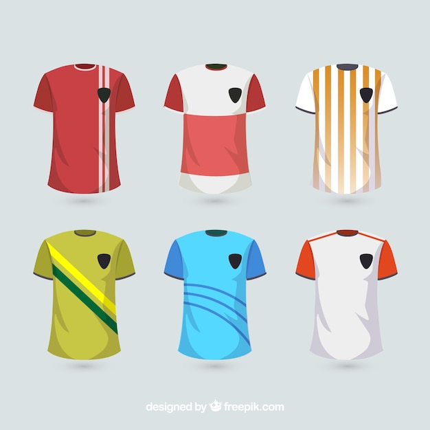 Soccer uniform shirts Free Vector