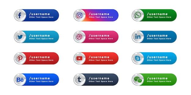 소셜 미디어 아이콘 웹 배너 더 낮은 세 번째 세트 무료 벡터