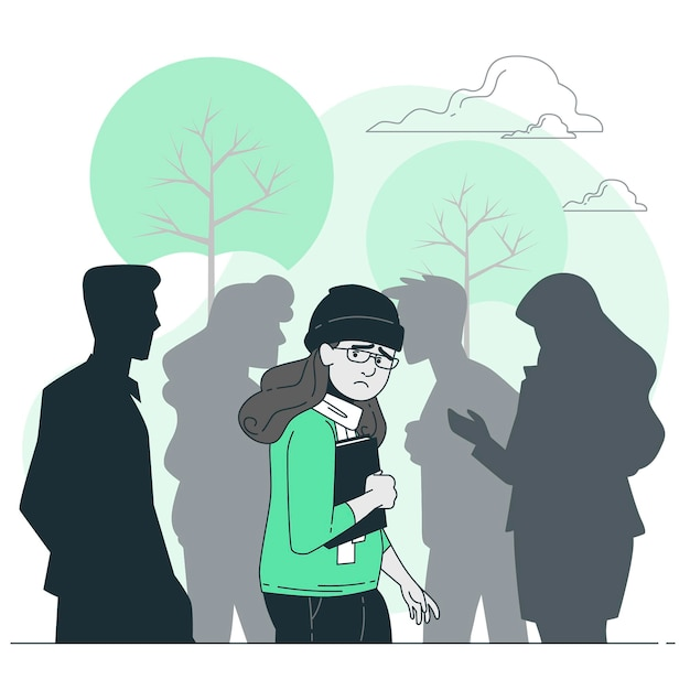 Social anxiety concept illustration Free Vector